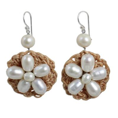 Hand Crocheted Cultured Pearl Flower Dangle Earrings