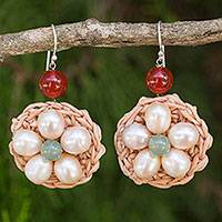 Cultured pearls and carnelian flower earrings, 'Blossoming Lyrics in White' - Artisan Crocheted Earrings with White Pearl Flowers