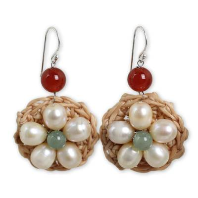 Artisan Crocheted Earrings with White Pearl Flowers