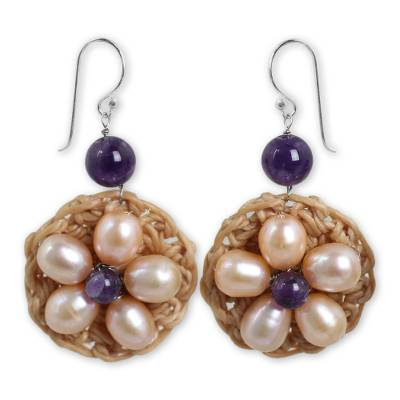 Pink Pearl Flowers on Hand Crocheted Earrings with Amethysts