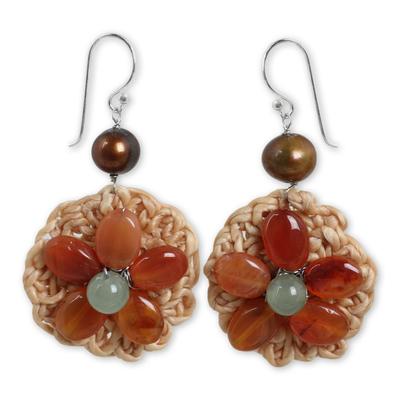 Artisan Hand Crocheted Carnelian Gemstone Beaded Earrings