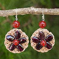 Garnet and carnelian flower earrings, 'Blossoming Lyrics' - Garnet and Carnelian Flowers on Silver Hook Earrings
