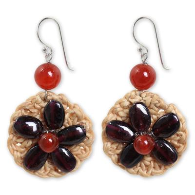 Garnet and Carnelian Flowers on Silver Hook Earrings