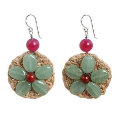 Gemstone Flowers on Hand Crocheted Hook Earrings
