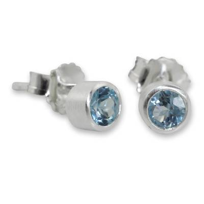 Blue topaz stud earrings, 'Light' - Sterling Silver Stud Earrings with Faceted Blue Topaz