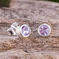 Amethyst stud earrings, 'Light' - Brushed Sterling Silver and Blue Topaz Studs Earrings