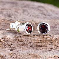 Garnet stud earrings, 'Light'