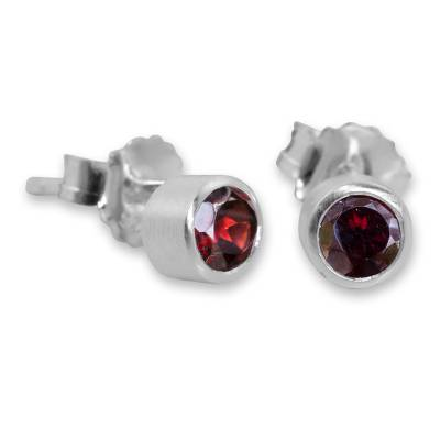 Sterling Silver Stud Earrings with Faceted Garnet