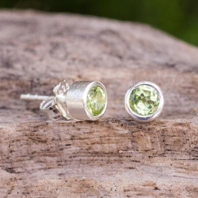 Peridot stud earrings, 'Light' - Peridot on Brushed Sterling Silver Stud Earrings