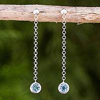 Blue topaz dangle earrings, 'Light' - Sterling Silver Long Earrings with Faceted Blue Topaz