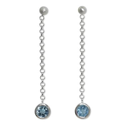 Sterling Silver Long Earrings with Faceted Blue Topaz
