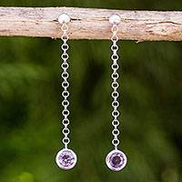 Amethyst dangle earrings, 'Light' - Brushed Sterling Silver and Amethyst Long Earrings