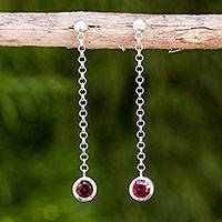Garnet dangle earrings, 'Light' - Garnet on Long Sterling Silver Earrings Crafted by Hand