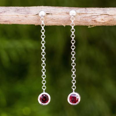 Garnet dangle earrings, 'Light' - Garnet on Long Sterling Silver Earrings Crafted by Hand