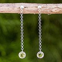 Peridot dangle earrings, 'Light' - Long Sterling Silver Earrings Crafted by Hand with Peridot