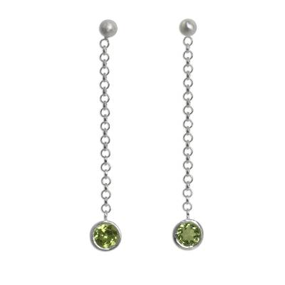 Long Sterling Silver Earrings Crafted by Hand with Peridot