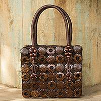 Coconut shell handbag, 'Thai Coconut' - Handmade Brown Purse Crafted of Coconut Shell and Cotton