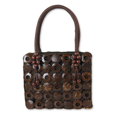 Handmade Brown Purse Crafted of Coconut Shell and Cotton