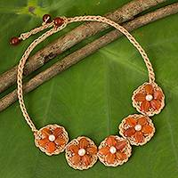 Carnelian and cultured pearl flower necklace, 'Blossoming Rhyme' - Hand Crocheted Flower Necklace with Carnelians and Pearls