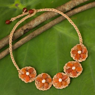 Novica Carnelian and cultured pearl flower bracelet, Blossoming Rhyme