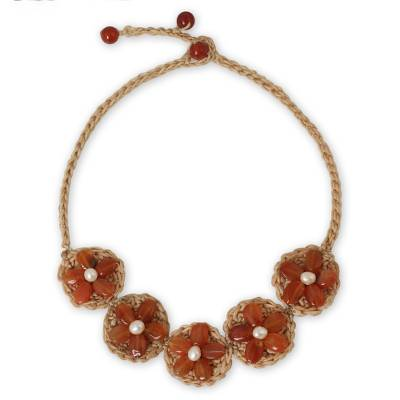 Hand Crocheted Flower Necklace with Carnelians and Pearls