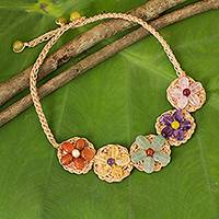 Multi gemstone flower necklace, 'Blossoming Rhyme' - Multi Gemstone Flowers on Beige Hand Crocheted Necklace