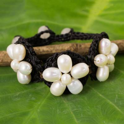 Cultured pearl and quartz flower bracelet, 'Blossoming Rhyme' - White Pearl Flowers on Black Bracelet Crocheted by Hand