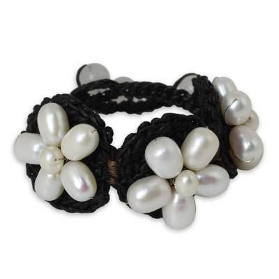White Pearl Flowers on Black Bracelet Crocheted by Hand