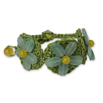 Artisan Crafted Crocheted Bracelet with Green Quartz Flowers
