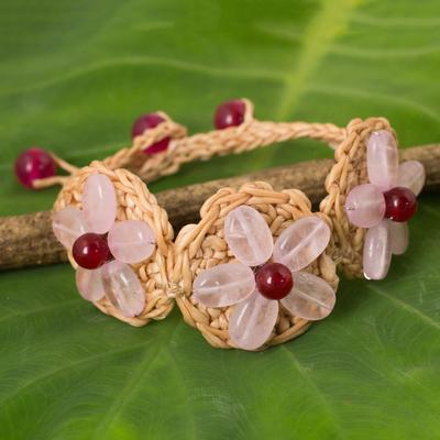 Rose quartz flower bracelet, 'Blossoming Rhyme' - Rose Quartz Flowers on Hand Crocheted Bracelet
