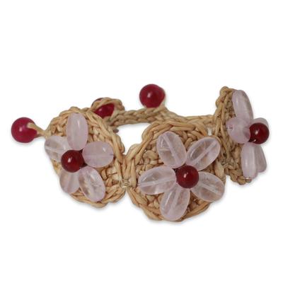 Rose Quartz Flowers on Hand Crocheted Bracelet