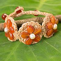 Carnelian and cultured pearl flower bracelet, 'Blossoming Rhyme' - Hand Crocheted Flower Bracelet with Carnelians and Pearls