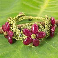 Beaded flower bracelet, 'Pink Blossoming Rhyme' - Dark Pink Gemstone Flowers on Green Hand Crocheted Bracelet
