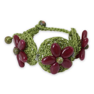 Dark Pink Gemstone Flowers on Green Hand Crocheted Bracelet