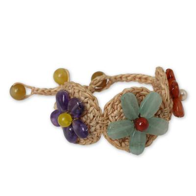Multi Gemstone Flowers on Beige Hand Crocheted Bracelet