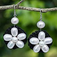 Cultured pearl and quartz flower earrings, 'Blossoming Rhyme' - White Pearl Flowers on Black Earrings with Silver Hook