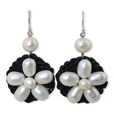 White Pearl Flowers on Black Earrings with Silver Hook