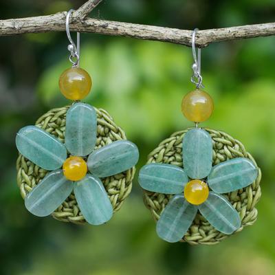 Novica Beaded flower earrings, Blossoming Rhyme