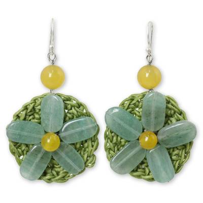 Artisan Crafted Crocheted Earrings with Green Quartz Flowers