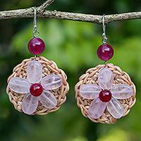 Rose quartz flower earrings, 'Blossoming Rhyme' - Rose Quartz Flowers on Hand Crocheted Earrings