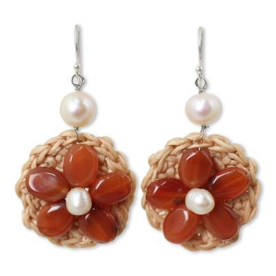 Hand Crocheted Flower Earrings with Carnelians and Pearls
