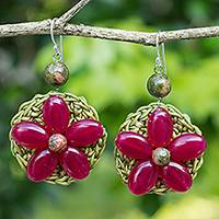 Beaded flower earrings, 'Pink Blossoming Rhyme' - Dark Pink Gemstone Flowers on Green Hand Crocheted Earrings