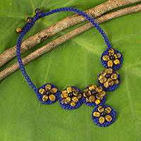 Tiger's eye beaded flower necklace, 'Brown Daisy' - Hand Made Blue Cord Necklace with Tiger's Eye Flowers