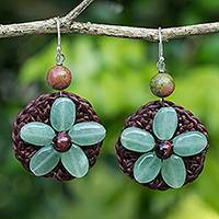 Quartz beaded flower earrings, 'Pastel Daisy' - Crocheted Green Quartz Flower Earrings from Thailand