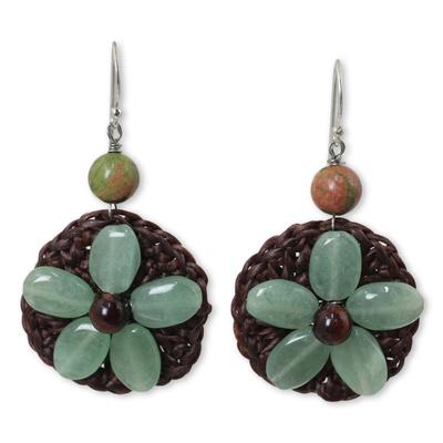 Crocheted Green Quartz Flower Earrings from Thailand