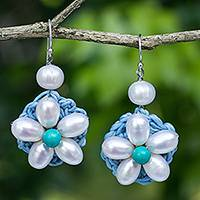 Cultured pearl beaded flower earrings, 'White Daisy' - Flower Earrings with White Cultured Pearls and Blue Calcite