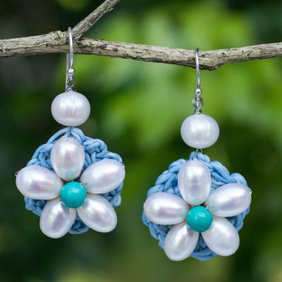 Novica Cultured pearl beaded flower earrings, White Daisy