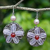 Rose quartz beaded flower earrings, 'Pink Daisy' - Hand Made Earrings with Rose Quartz Flowers and Silver Hooks