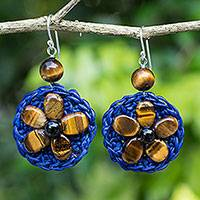 Tiger's eye beaded flower earrings, 'Brown Daisy' - Hand Made Blue Crocheted Earrings with Tiger's Eye Beads