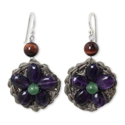 Amethyst and Green Quartz Flower Earrings from Thai Artisan